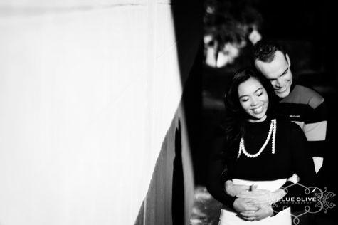 black and white urban engagement photo