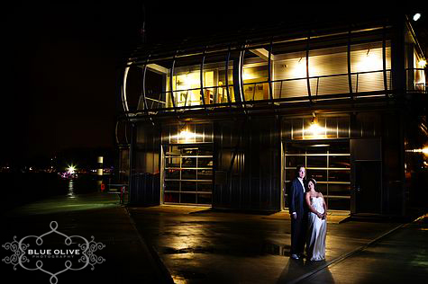 bride and groom night shot