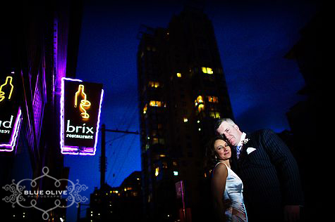 bride and groom brix restaurant night photo